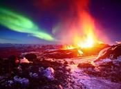 Spettacolare eruzione neve, lava aurora boreale!
